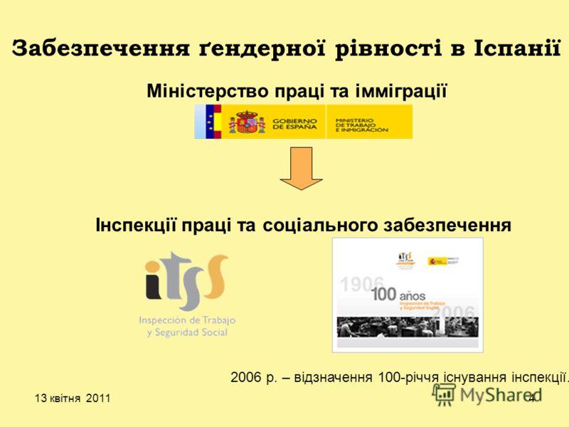13 квітня 20114 Міністерство праці та імміграції Забезпечення ґендерної рівності в Іспанії Інспекції праці та соціального забезпечення 2006 р. – відзначення 100-річчя існування інспекції.