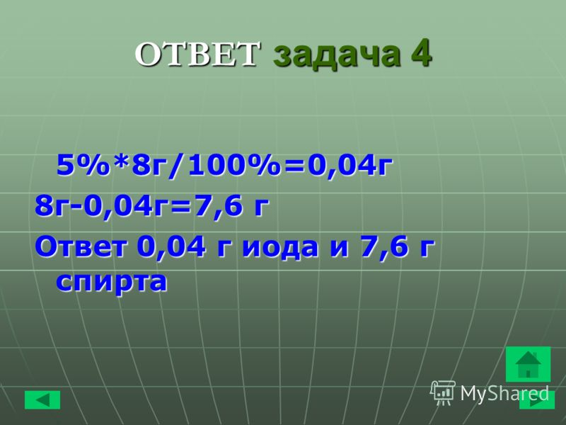 ОТВЕТ задача 4 5%*8 г/100%=0,04 г 8 г-0,04 г=7,6 г Ответ 0,04 г иода и 7,6 г спирта