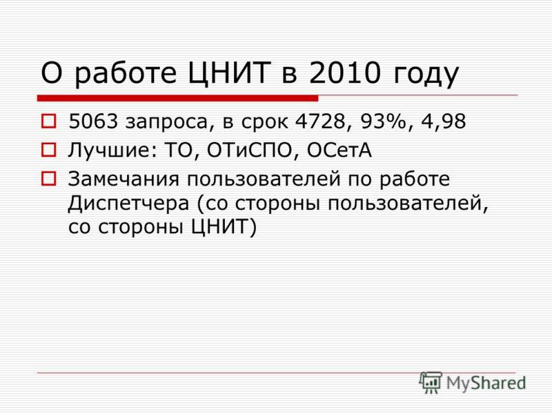 О работе ЦНИТ в 2010 году 5063 запроса, в срок 4728, 93%, 4,98 Лучшие: ТО, ОТиСПО, ОСетА Замечания пользователей по работе Диспетчера (со стороны пользователей, со стороны ЦНИТ)