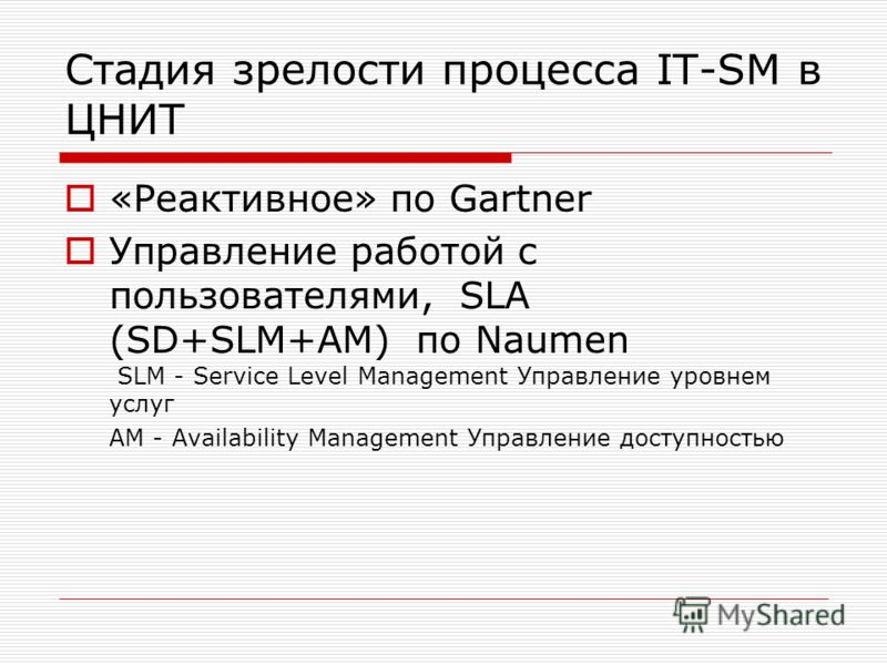 Стадия зрелости процесса IT-SM в ЦНИТ «Реактивное» по Gartner Управление работой с пользователями, SLA (SD+SLM+AM) по Naumen SLM - Service Level Management Управление уровнем услуг AM - Availability Management Управление доступностью
