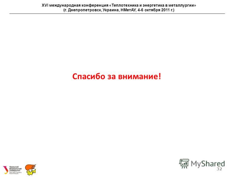 Спасибо за внимание! 32 XVI международная конференция «Теплотехника и энергетика в металлургии» (г. Днепропетровск, Украина, НМетАУ, 4-6 октября 2011 г.)