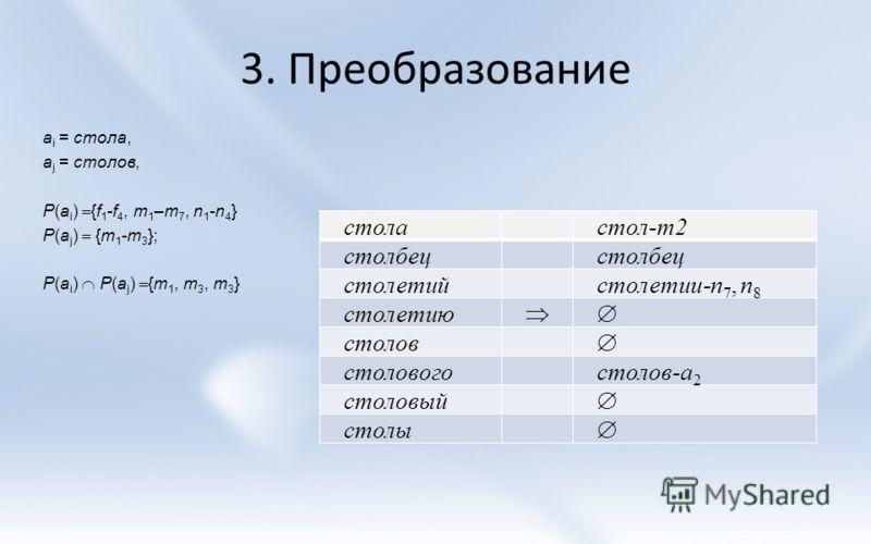 3. Преобразование столастол-m2 столбец столетийстолетии-n 7, n 8 столетию столов столовогостолов-a 2 столовый столы a i = стола, a j = столов, P(a i ) {f 1 -f 4, m 1 –m 7, n 1 -n 4 } P(a j ) {m 1 -m 3 }; P(a i ) P(a j ) {m 1, m 3, m 3 }