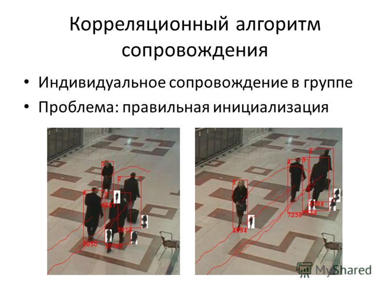 Корреляционный алгоритм сопровождения Индивидуальное сопровождение в группе Проблема: правильная инициализация