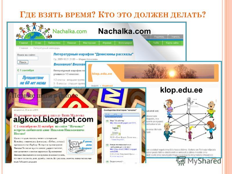Г ДЕ ВЗЯТЬ ВРЕМЯ ? К ТО ЭТО ДОЛЖЕН ДЕЛАТЬ ? Nachalka.com klop.edu.ee algkool.blogspot.com
