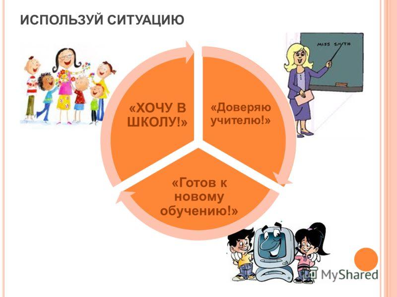 ИСПОЛЬЗУЙ СИТУАЦИЮ «Доверяю учителю!» «Готов к новому обучению!» «ХОЧУ В ШКОЛУ!»