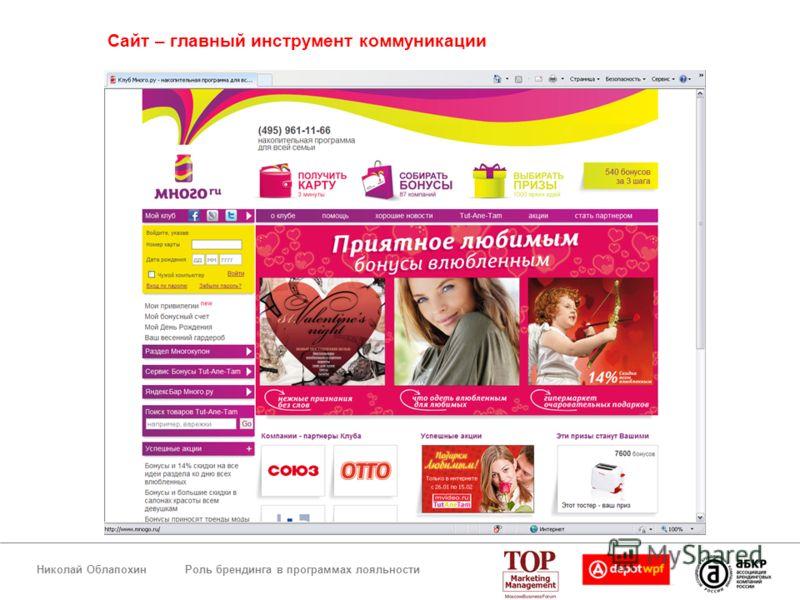 Роль брендинга в программах лояльностиНиколай Облапохин Сайт – главный инструмент коммуникации