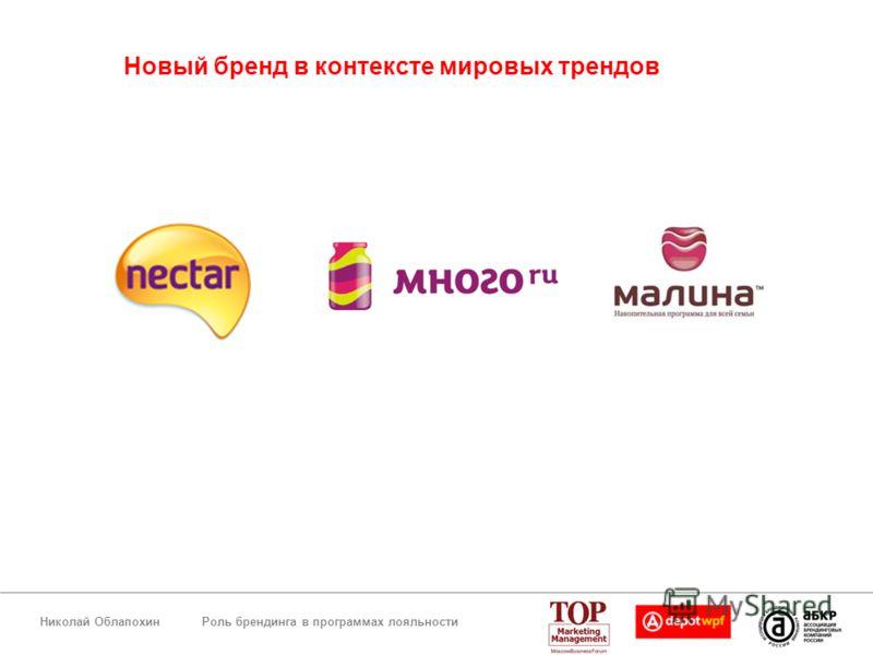 Роль брендинга в программах лояльностиНиколай Облапохин Новый бренд в контексте мировых трендов