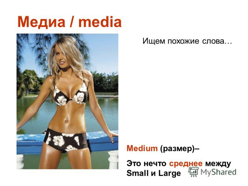 Медиа / media Ищем похожие слова… Medium (размер)– Это нечто среднее между Small и Large
