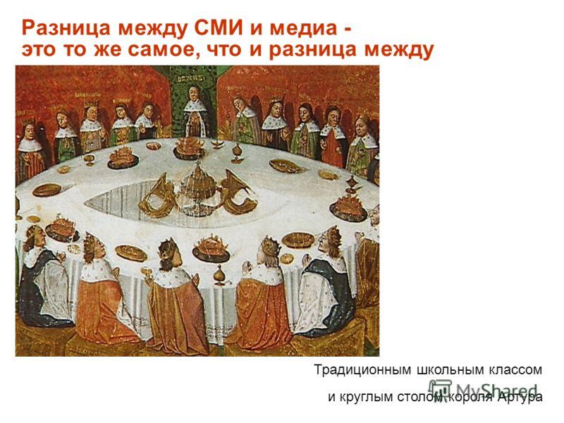 Разница между СМИ и медиа - это то же самое, что и разница между Традиционным школьным классом и круглым столом короля Артура