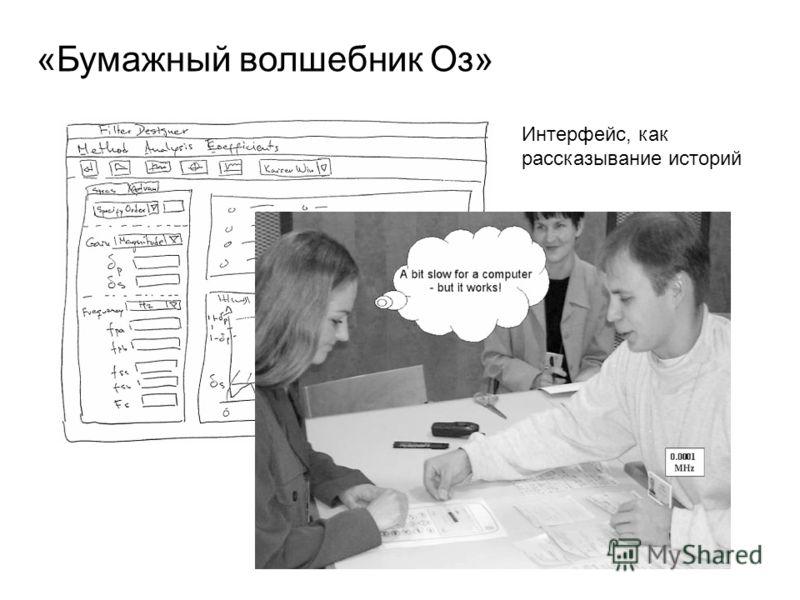 «Бумажный волшебник Оз» Интерфейс, как рассказывание историй