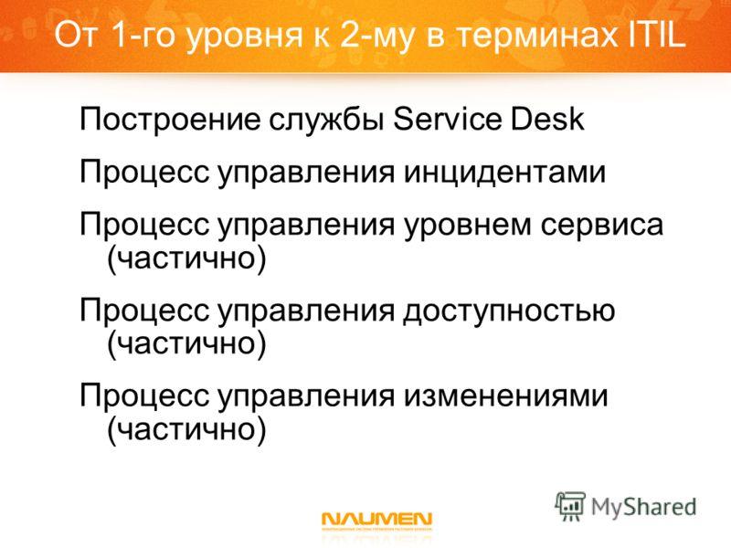 От 1-го уровня к 2-му в терминах ITIL Построение службы Service Desk Процесс управления инцидентами Процесс управления уровнем сервиса (частично) Процесс управления доступностью (частично) Процесс управления изменениями (частично)