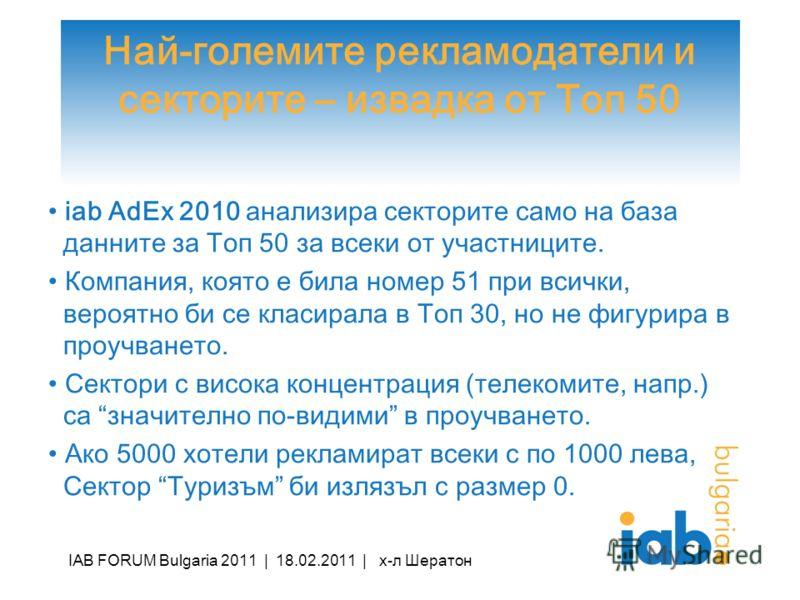 Най-големите рекламодатели и секторите – извадка от Топ 50 iab AdEx 2010 анализира секторите само на база данните за Топ 50 за всеки от участниците. Компания, която е била номер 51 при всички, вероятно би се класирала в Топ 30, но не фигурира в проуч