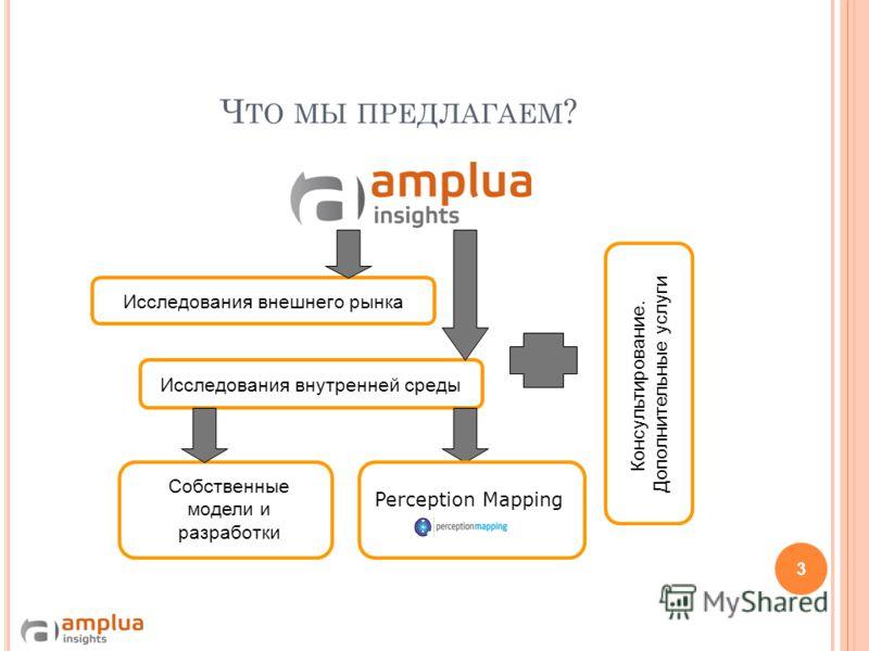 Ч ТО МЫ ПРЕДЛАГАЕМ ? Консультирование. Дополнительные услуги Исследования внутренней среды Исследования внешнего рынка Perception Mapping Собственные модели и разработки 3