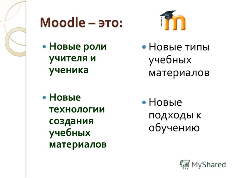 Moodle – это : Новые роли учителя и ученика Новые технологии создания учебных материалов Новые типы учебных материалов Новые подходы к обучению