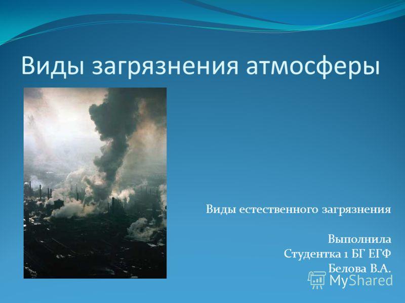 Виды загрязнения атмосферы Виды естественного загрязнения Выполнила Студентка 1 БГ ЕГФ Белова В.А.
