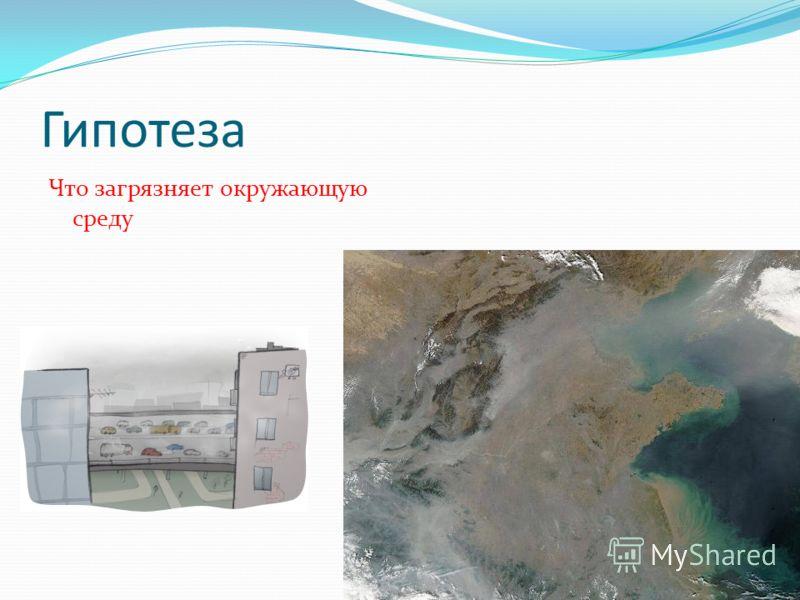 Гипотеза Что загрязняет окружающую среду