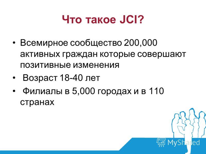 Что такое JCI? Всемирное сообщество 200,000 активных граждан которые совершают позитивные изменения Возраст 18-40 лет Филиалы в 5,000 городах и в 110 странах
