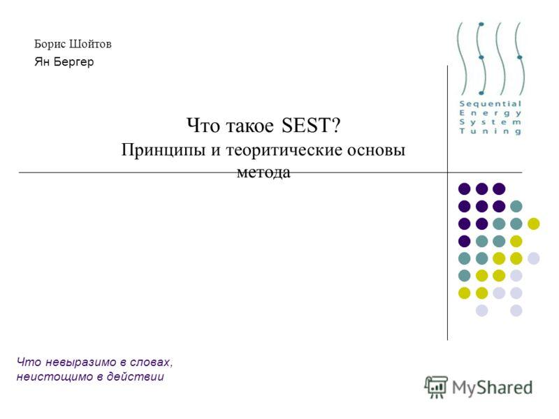 Что невыразимо в словах, неистощимо в действии Борис Шойтов Ян Бергер Что такое SEST? Принципы и теоретические основы метода