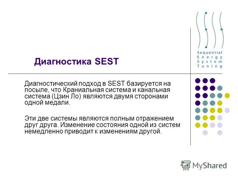 Диагностика SEST Диагностический подход в SEST базируется на посыле, что Краниальная система и канальная система (Цзин Ло) являются двумя сторонами одной медали. Эти две системы являются полным отражением друг друга. Изменение состояния одной из сист