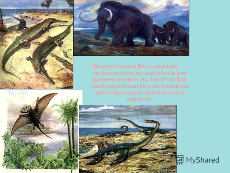 Мы приглашаем Вас совершить увлекательное путешествие в мир древних ящеров, но для этого Вам необходимо отыскать изображение динозавра среди предложенных картинок.