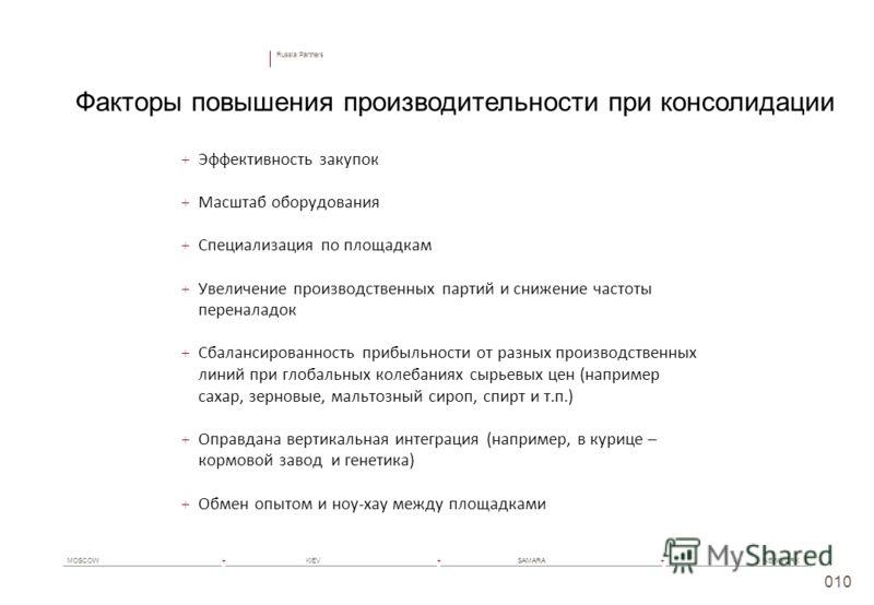 Russia Partners MOSCOW+ KIEV+ SAMARA+ NEW YORK 010 + Эффективность закупок + Масштаб оборудования + Специализация по площадкам + Увеличение производственных партий и снижение частоты переналадок + Сбалансированность прибыльности от разных производств