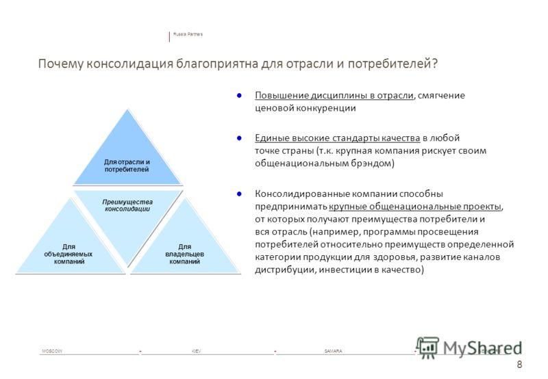 Russia Partners MOSCOW+ KIEV+ SAMARA+ NEW YORK 8 Почему консолидация благоприятна для отрасли и потребителей? Повышение дисциплины в отрасли, смягчение ценовой конкуренции Единые высокие стандарты качества в любой точке страны (т.к. крупная компания