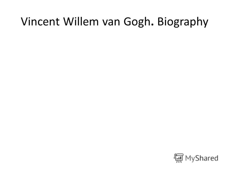 Vincent Willem van Gogh. Biography