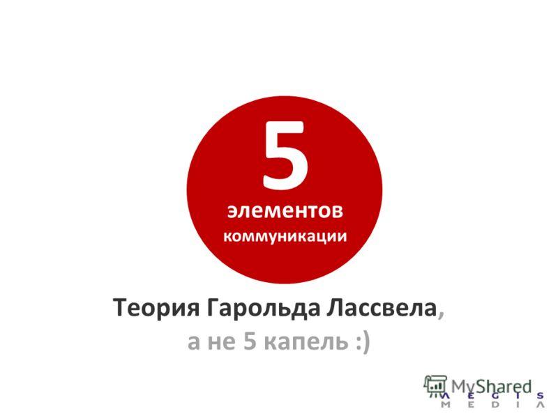 Теория Гарольда Лассвела, а не 5 капель :) элементов коммуникации 5