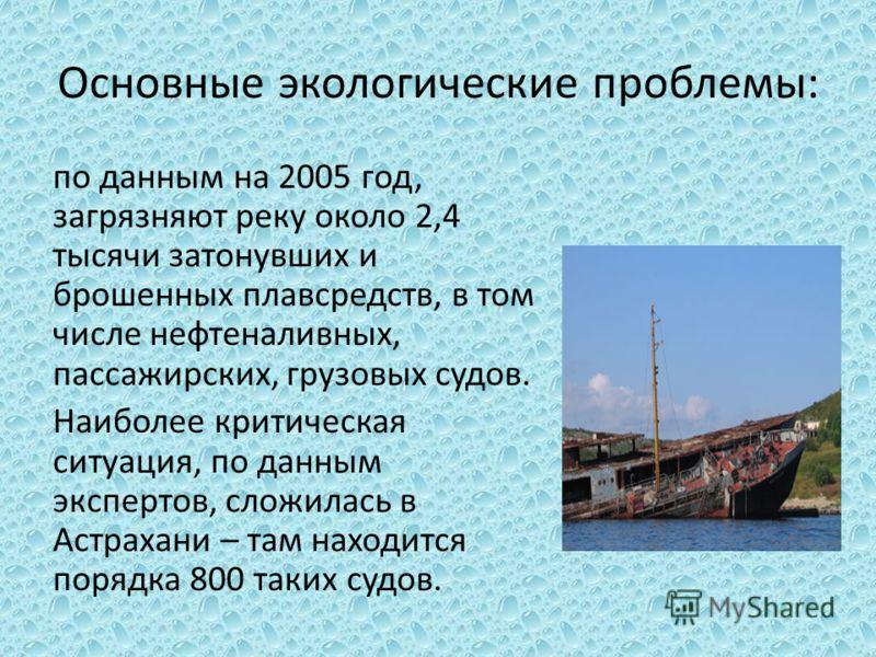 Основные экологические проблемы: по данным на 2005 год, загрязняют реку около 2,4 тысячи затонувших и брошенных плавсредств, в том числе нефтеналивных, пассажирских, грузовых судов. Наиболее критическая ситуация, по данным экспертов, сложилась в Астр