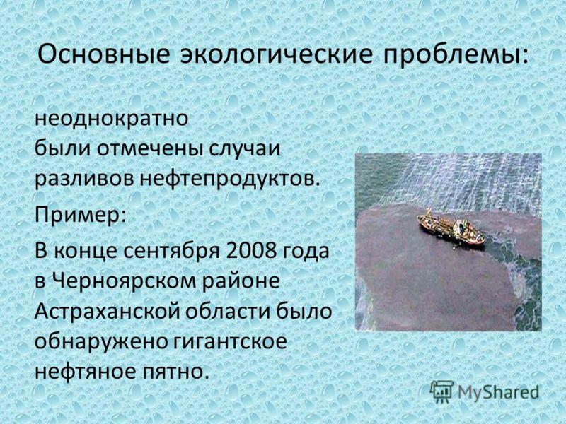 Основные экологические проблемы: неоднократно были отмечены случаи разливов нефтепродуктов. Пример: В конце сентября 2008 года в Черноярском районе Астраханской области было обнаружено гигантское нефтяное пятно.