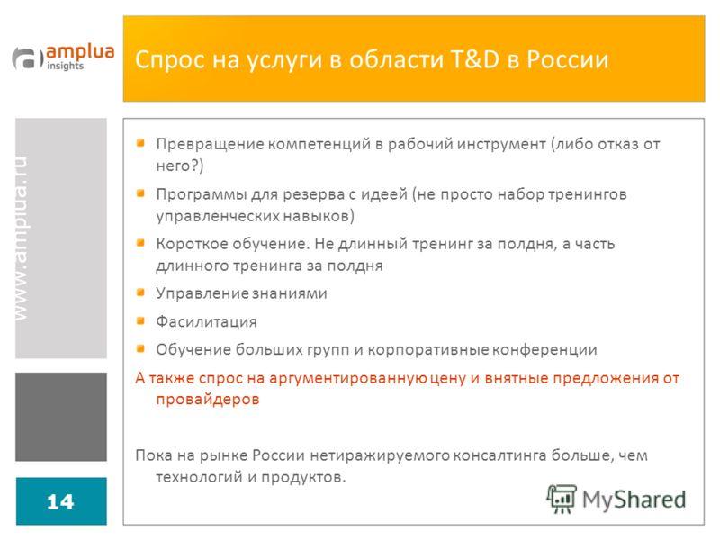 www.amplua.ru 14 Спрос на услуги в области T&D в России Превращение компетенций в рабочий инструмент (либо отказ от него?) Программы для резерва с идеей (не просто набор тренингов управленческих навыков) Короткое обучение. Не длинный тренинг за полдн