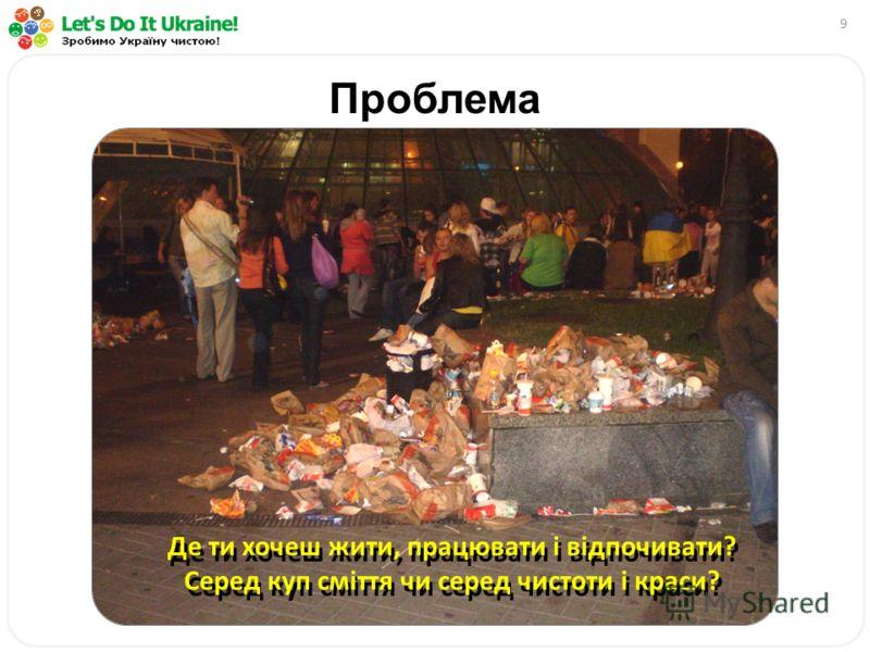 9 Проблема Де ти хочеш жити, працювати і відпочивати? Серед куп сміття чи серед чистоти і краси?