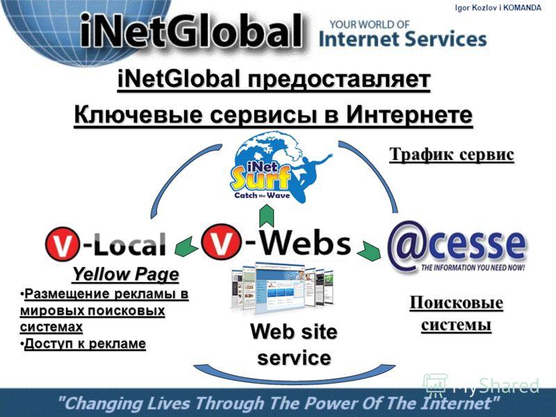 iNetGlobal предоставляет Ключевые сервисы в Интернете Web site service Yellow Page Размещение рекламы в мировых поисковых системах Размещение рекламы в мировых поисковых системах Доступ к рекламе Доступ к рекламе Поисковые системы Трафик сервис Igor