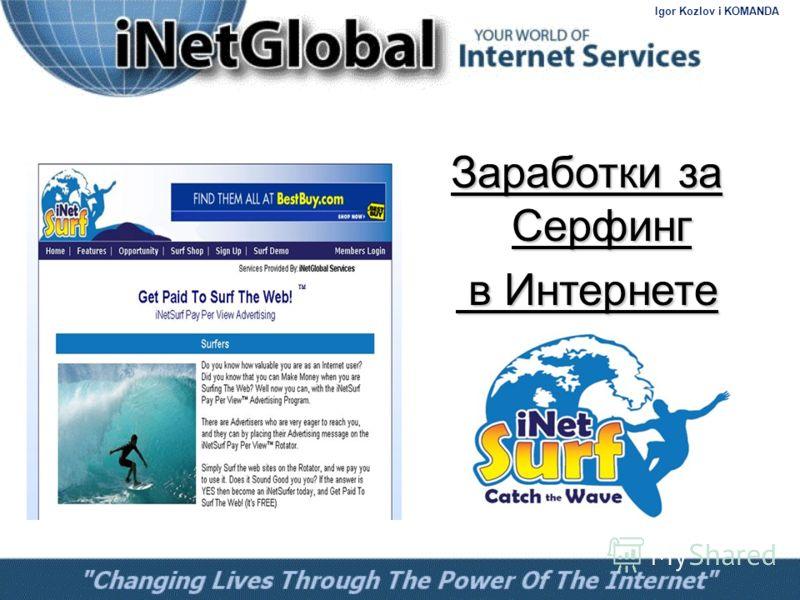 Заработки за Серфинг в Интернете в Интернете Igor Kozlov i KOMANDA