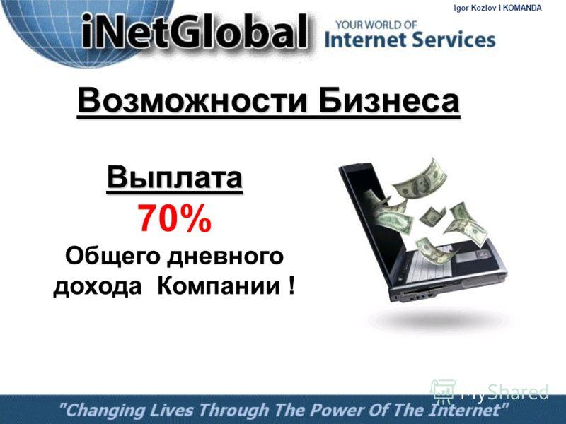 Выплата Выплата 70% Общего дневного дохода Компании ! Возможности Бизнеса Igor Kozlov i KOMANDA