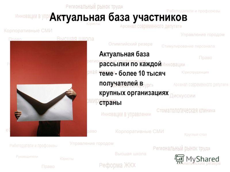 Актуальная база участников Актуальная база рассылки по каждой теме - более 10 тысяч получателей в крупных организациях страны
