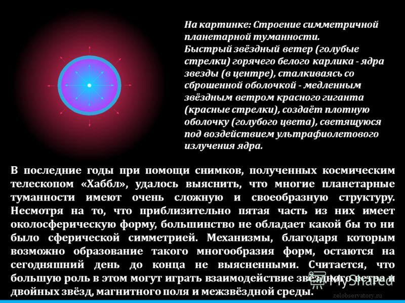 zelobservatory.ru В последние годы при помощи снимков, полученных космическим телескопом «Хаббл», удалось выяснить, что многие планетарные туманности имеют очень сложную и своеобразную структуру. Несмотря на то, что приблизительно пятая часть из них