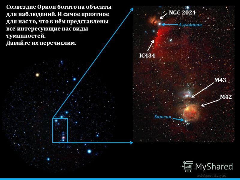 zelobservatory.ru М42 М43 IC434 NGC 2024 Созвездие Орион богато на объекты для наблюдений. И самое приятное для нас то, что в нём представлены все интересующие нас виды туманностей. Давайте их перечислим. Хатсия Альнитак