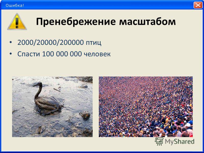 Пренебрежение масштабом 2000/20000/200000 птиц Спасти 100 000 000 человек
