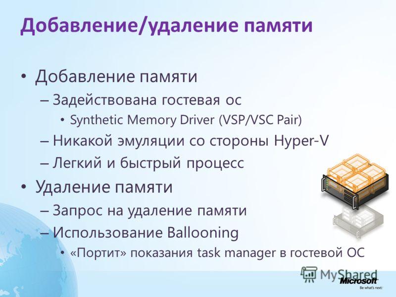 Добавление/удаление памяти Добавление памяти – Задействована гостевая ос Synthetic Memory Driver (VSP/VSC Pair) – Никакой эмуляции со стороны Hyper-V – Легкий и быстрый процесс Удаление памяти – Запрос на удаление памяти – Использование Ballooning «П