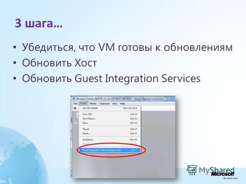 3 шага… Убедиться, что VM готовы к обновлениям Обновить Хост Обновить Guest Integration Services