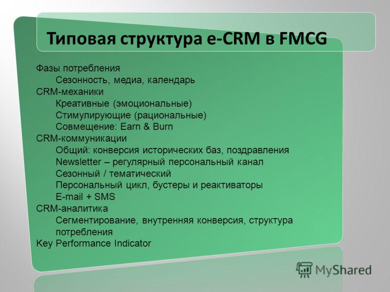 Типовая структура e-CRM в FMCG Фазы потребления Сезонность, медиа, календарь CRM-механики Креативные (эмоциональные) Стимулирующие (рациональные) Совмещение: Earn & Burn CRM-коммуникации Общий: конверсия исторических баз, поздравления Newsletter – ре