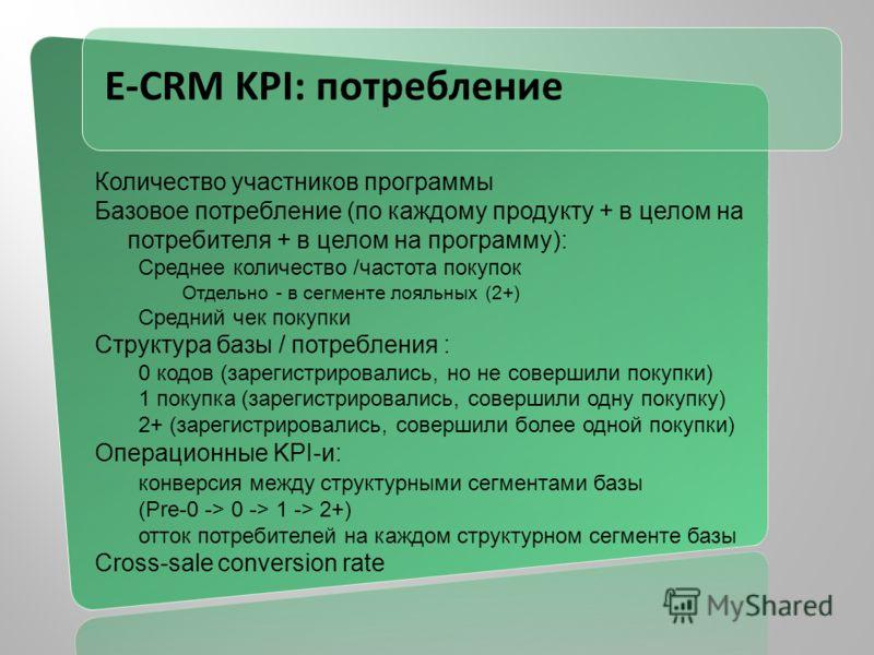 E-CRM KPI: потребление Количество участников программы Базовое потребление (по каждому продукту + в целом на потребителя + в целом на программу): Среднее количество /частота покупок Отдельно - в сегменте лояльных (2+) Средний чек покупки Структура ба