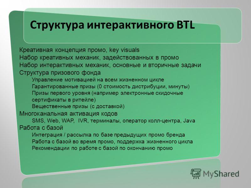 Структура интерактивного BTL Креативная концепция промо, key visuals Набор креативных механик, задействованных в промо Набор интерактивных механик, основные и вторичные задачи Структура призового фонда Управление мотивацией на всем жизненном цикле Га