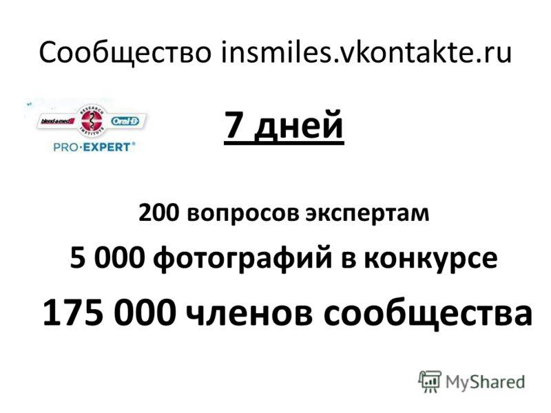 Сообщество insmiles.vkontakte.ru 7 дней 200 вопросов экспертам 5 000 фотографий в конкурсе 175 000 членов сообщества