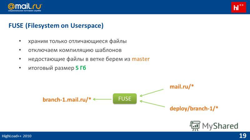 HighLoad++ 2010 19 FUSE (Filesystem on Userspace) храним только отличающиеся файлы отключаем компиляцию шаблонов недостающие файлы в ветке берем из master итоговый размер 5 Гб branch-1.mail.ru/* mail.ru/* deploy/branch-1/* FUSE