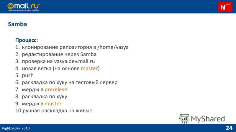 HighLoad++ 2010 24 Процесс: 1.клонирование репозитория в /home/vasya 2.редактирование через Samba 3.проверка на vasya.dev.mail.ru 4.новая ветка (на основе master) 5.push 6.раскладка по хуку на тестовый сервер 7.мердж в prerelese 8.раскладка по хуку 9
