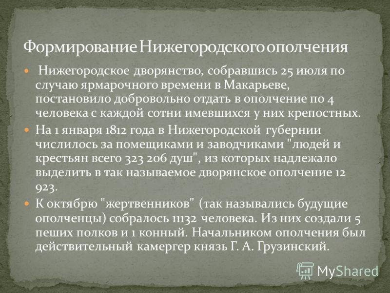 Нижегородское дворянство, собравшись 25 июля по случаю ярмарочного времени в Макарьеве, постановило добровольно отдать в ополчение по 4 человека с каждой сотни имевшихся у них крепостных. На 1 января 1812 года в Нижегородской губернии числилось за по