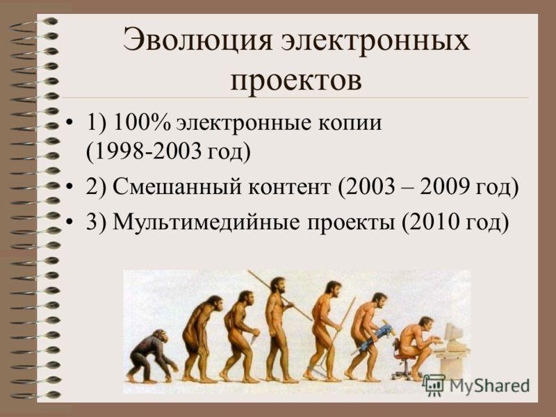 Эволюция электронных проектов 1) 100% электронные копии (1998-2003 год) 2) Смешанный контент (2003 – 2009 год) 3) Мультимедийные проекты (2010 год)