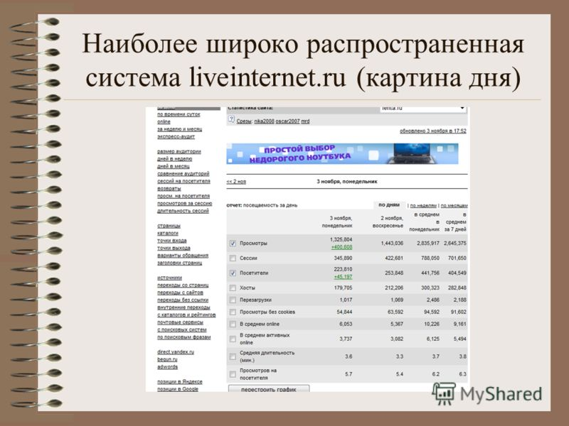 Наиболее широко распространенная система liveinternet.ru (картина дня)